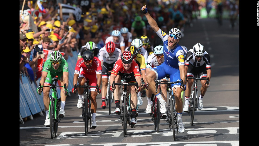 Kittel celebrates winning stage six of the Tour de France between Vesoul and Troyes (216km), his second victory of 2017.