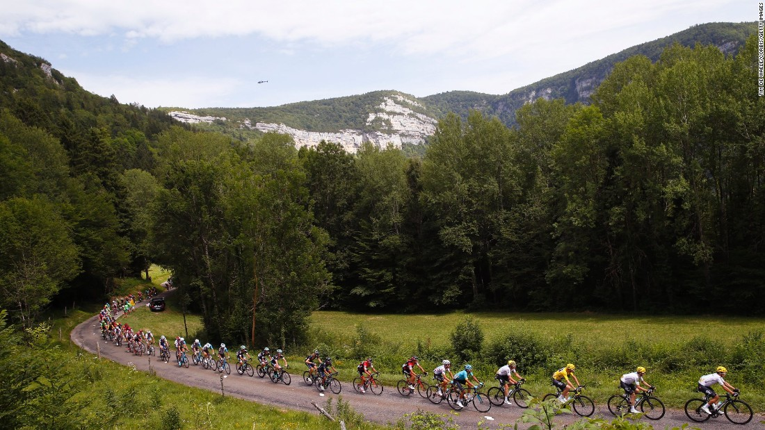 The riders take in the picturesque eighth stage of the Tour betweenDole and Station des Rousses. Lilian Calmejane delighted the home fans by recording a second French victory of this year's Tour.