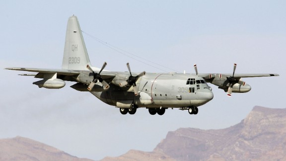 NELLIS AFB, NV - APRIL 25:  A United States Marine Corps KC-130 air refueling aircraft lands at Nellis Air Force Base while participating in the Joint Expeditionary Force Experiment 2006 (JEFX 06) April 25, 2006 in Las Vegas, Nevada. JEFX is a biannual test of new systems and technologies by every branch of the military in an attempt to speed their introduction into the modern battlefield. This year's tests involve about 1,400 personnel from the United States, Great Britain, Canada and Australia studying new technologies during mock combat over the Nevada desert and center on finding better ways to communicate critical information between armed forces.  (Photo by Ethan Miller/Getty Images)