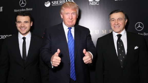 MOSCOW, RUSSIA - NOVEMBER 09: Emin Agalarov, Donald Trump and Aras Agalarov attend the red carpet at Miss Universe Pageant Competition 2013 on November 9, 2013 in Moscow, Russia. (Photo by Victor Boyko/Getty Images)