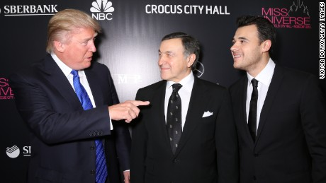 MOSCOW, RUSSIA - NOVEMBER 09: Donald Trump, Aras Agalarov and Emin Agalarov attend the red carpet at Miss Universe Pageant Competition 2013 on November 9, 2013 in Moscow, Russia. (Photo by Victor Boyko/Getty Images)