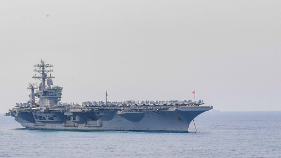 170709-N-OW182-041   BAY OF BENGAL (July 9, 2017) The aircraft carrier USS Nimitz (CVN 68) anchors off the coast of India in preparation for Malabar 2017. Malabar 2017 is the latest in a continuing series of exercises between the Indian Navy, Japan Maritime Self Defense Force and U.S. Navy that has grown in scope and complexity over the years to address the variety of shared threats to maritime security in the Indo-Asia-Pacific region. (U.S. Navy photo by Mass Communication Specialist 2nd Class Jacob M. Milham)