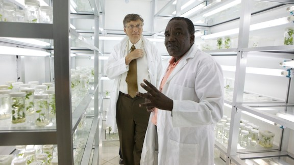 Plant virologist Dr. Joseph Ndunguru with Bill Gates at the Mikocheni Agricultural Research Institute in Tanzania.   Ndunguru is a leading figure of the Cassava Diagnostics Project (CDP), which is supported by the Bill and Melinda Gates Foundation, which works with farmers in East Africa to identify and control cassava disease.