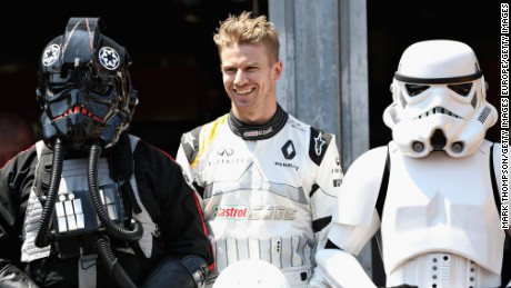 MONTE-CARLO, MONACO - MAY 28: Nico Hulkenberg of Germany and Renault Sport F1 with Star Wars characters during the Monaco Formula One Grand Prix at Circuit de Monaco on May 28, 2017 in Monte-Carlo, Monaco.  (Photo by Mark Thompson/Getty Images)