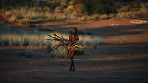 The landscape is on the border of Kalahari Gemsbok National Park (KPNG). Many of the Khomani San groups were forcibly removed from their ancestral land in 2002 by neighboring Botswana