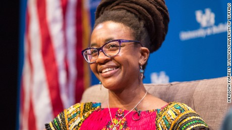 Nnedi Okorafor, an award-winning science fiction author and University of Buffalo faculty member, speaks during the keynote lecture segment of the Signature Series in Black Box Theatre at Center for the Arts