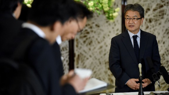 Joseph Yun right, US special representative for North Korea policy, answers questions from reporters following a meeting with Japanese and South Korean chief nuclear negotiators at the Iikura Guesthouse in Tokyo on April 25, 2017.
