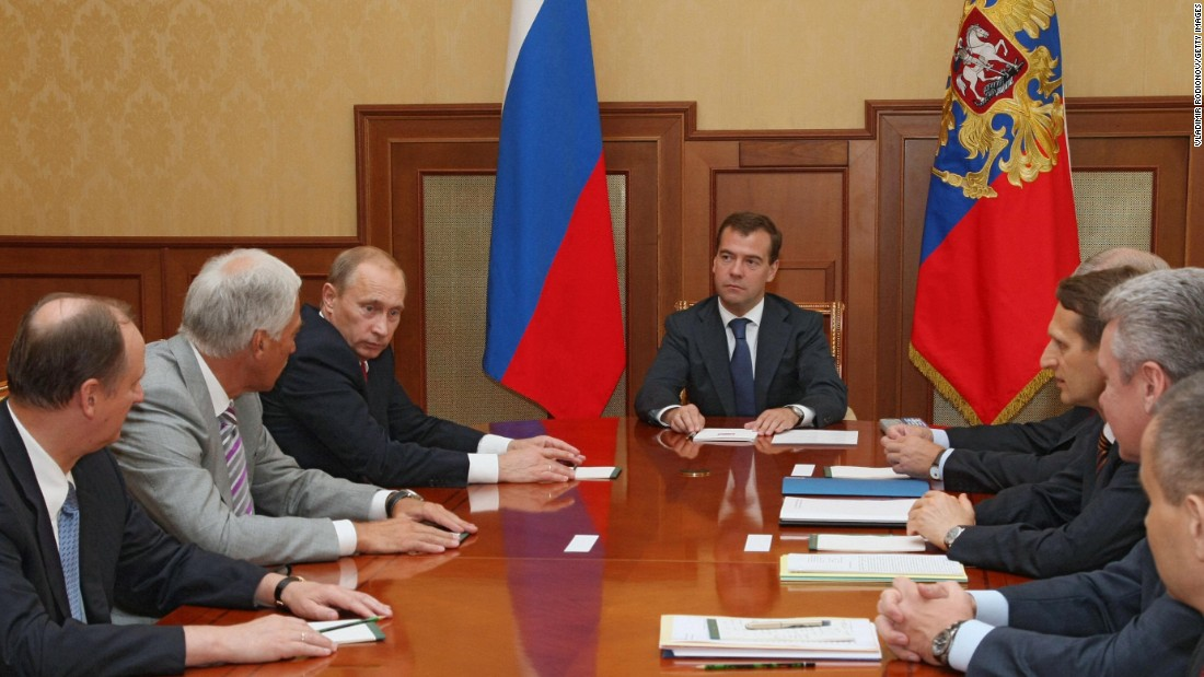 In 2008, Putin had finished two terms and was constitutionally obliged to stand down as president. But he stayed close to power, becoming prime minister after Dmitry Medvedev, center, was elected to be his successor.