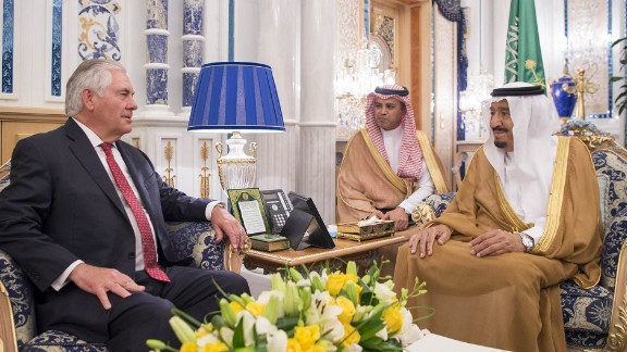 """A handout picture provided by the Saudi Press Agency (SPA) on July 12, 2017, shows Saudi's King Salman bin Abdulaziz al-Saud (R) meeting US Secretary of State Rex Tillerson in Jeddah. / AFP PHOTO / SPA AND AFP PHOTO / STRINGER / === RESTRICTED TO EDITORIAL USE - MANDATORY CREDIT """"AFP PHOTO / HO / SPA"""" - NO MARKETING NO ADVERTISING CAMPAIGNS - DISTRIBUTED AS A SERVICE TO CLIENTS ===STRINGER/AFP/Getty Images"""