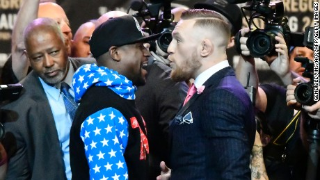 McGregor mocked Mayweather's decision to wear a tracksuit to Wednesday's event.