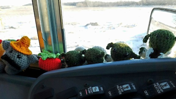Bus driver Trudy Serres crochets toys for students on her route.
