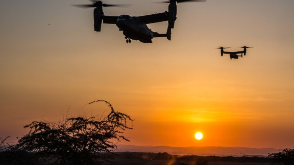 MV-22 Ospreys prepare to land at a landing zone during a helo-borne raid as part of sustainment training conducted on Jan. 10, 2017, in Djibouti. Ospreys have the ability to transport Marines and Sailors quickly to the battlefield due to its ability to tilt its rotors horizontally and fly like an airplane. The Ospreys and crew are with Marine Medium Tiltrotor Squadron 163 (Reinforced), 11th Marine Expeditionary Unit.