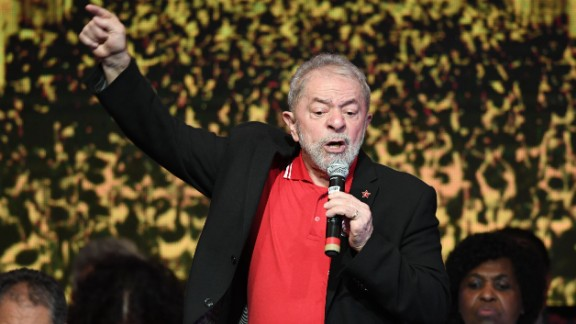Lula Da Silva delivers a speech during the Workers Party National Congress to elect its new president in Brasilia in June 2017.