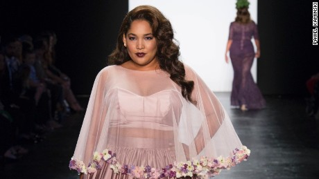 "A design from Ashley Nell Tipton's collection of plus-sized clothing, as shown on the Season 14 finale of ""Project Runway."""