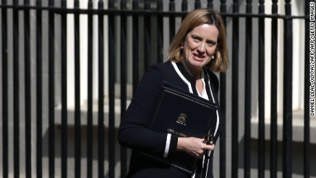 Britain's Home Secretary Amber Rudd arrives for a Cabinet meeting at 10 Downing Street in central London on July 4, 2017.