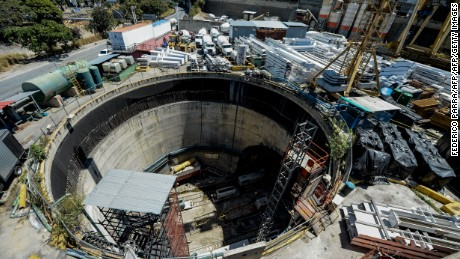 An overview of the construction of Subway Line 5 by Brazilian company Odebrecht in Caracas, Venezuela, on February 18, 2017. For years, Brazil-based Odebrecht, one of the region's biggest construction companies, landed huge public works contracts across Latin America by paying hundreds of millions of dollars in bribes. / AFP PHOTO / FEDERICO PARRA        (Photo credit should read FEDERICO PARRA/AFP/Getty Images)