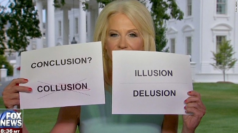 Conway uses flash cards during interview