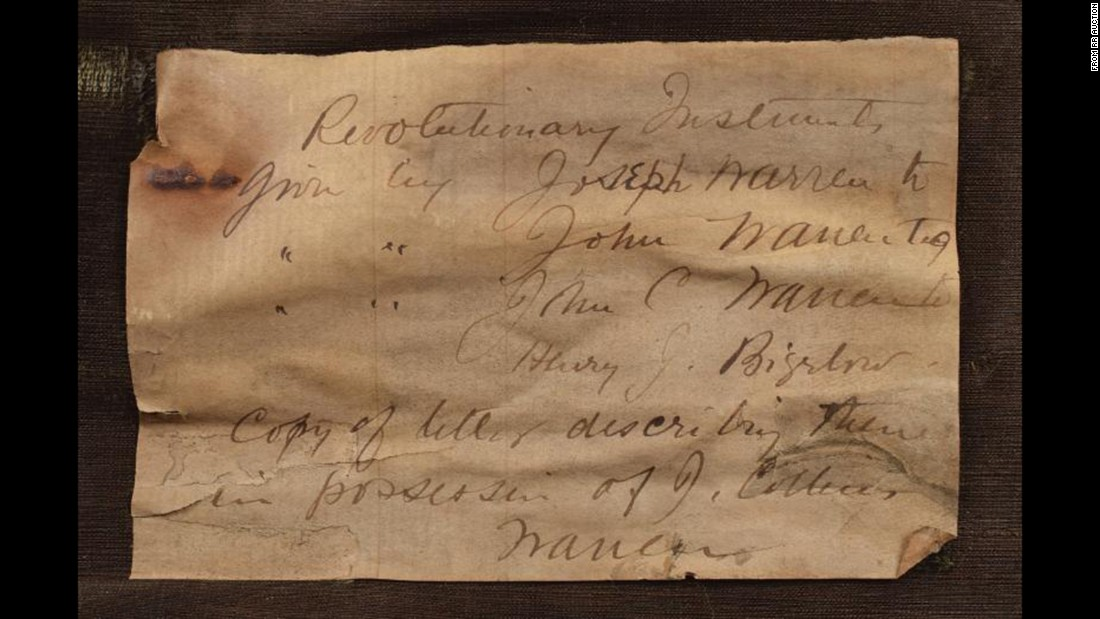 "A handwritten card reads ""Revolutionary Instruments given by Joseph Warren to John Warren to John C. Warren to Henry J. Bigelow. Copy of letter describing them in possession of J. Collins Warren."" Dr. John Collins Warren was Warren's son, <a href=""http://www.nejm.org/doi/full/10.1056/NEJMe1009367#t=article"" target=""_blank"">the first editor</a> of the New England Journal of Medicine."