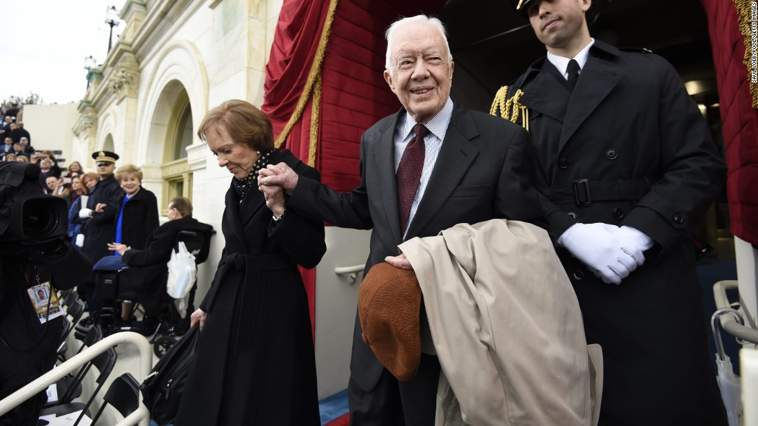 Carter and his wife arrive for the inauguration of Donald Trump in January 2017.