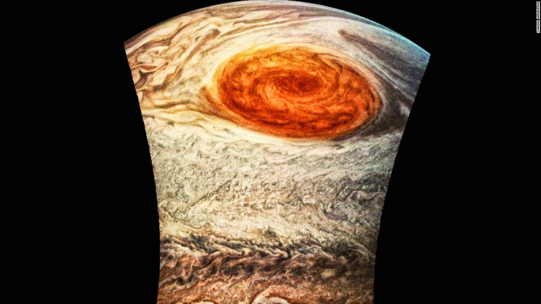 Algorithmic-based scaling and coloring reveal a vivid look at the Great Red Spot, July 2017.