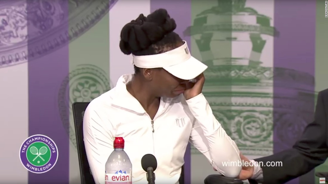 "During a Wimbledon news conference this year, Venus broke down in tears when reporters questioned her about <a href=""http://www.cnn.com/2017/07/07/us/venus-williams-fatal-accident/index.html"" target=""_blank"">a fatal crash in June</a> involving her SUV. A family has filed a wrongful death lawsuit against the tennis star, citing negligence in a Florida crash that claimed the life of 78-year-old Jerome Barson. No criminal charges have been filed in the crash, and police are still investigating."