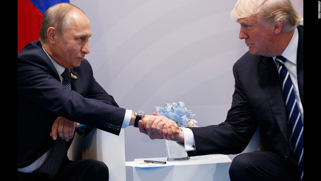 "US President Donald Trump shakes hands with Russian President Vladimir Putin as <a href=""http://www.cnn.com/2017/07/07/politics/trump-putin-meeting/index.html"" target=""_blank"">they meet on the sidelines</a> of the G20 summit in Hamburg, Germany, on Friday, July 7. They talked for more than two hours, discussing interference in US elections and ending with an agreement on curbing violence in Syria. <a href=""http://www.cnn.com/2017/07/06/world/gallery/week-in-photos-0706/index.html"" target=""_blank"">See last week in 27 photos</a>"