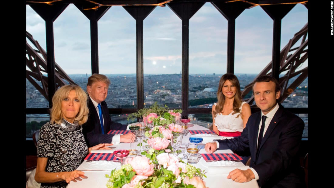 The couples dine at the Eiffel Tower restaurant on July 13.