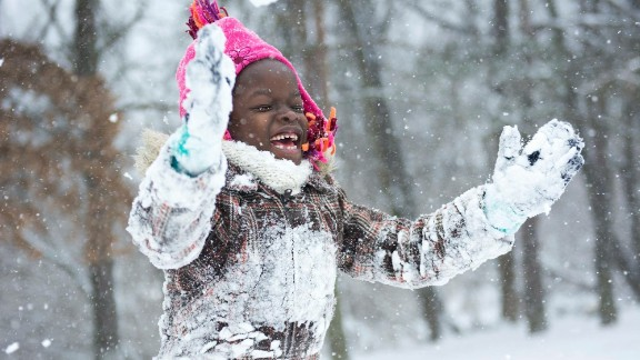 Mata saw snow in the US, a rarity in Uganda. Upon her return, she shared this picture with other children in her village.