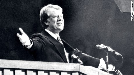File photo dated June 1976 of Democratic candidate for the US Presidency Jimmy Carter during the Democratic National Convention in New York City.        (Photo credit should read STR/AFP/Getty Images)
