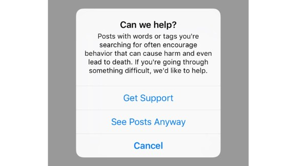 Instagram issues a warning whenever hashtags related to Blue Whale are searched.