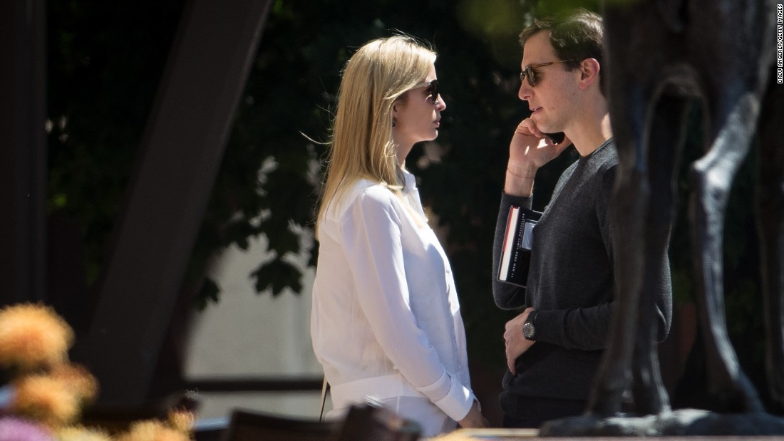 Ivanka Trump, daughter and adviser of US President Donald Trump, and her husband, White House senior adviser Jared Kushner