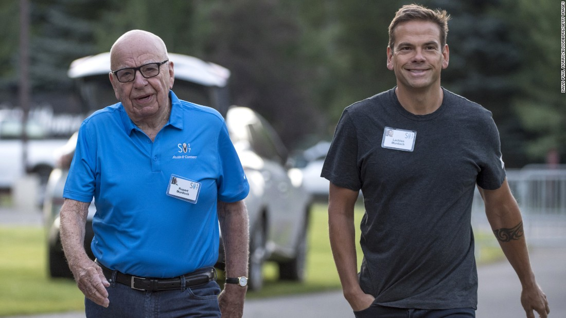 News Corp. Executive Chairman Rupert Murdoch and his son Lachlan Murdoch, executive co-chairman of 21st Century Fox