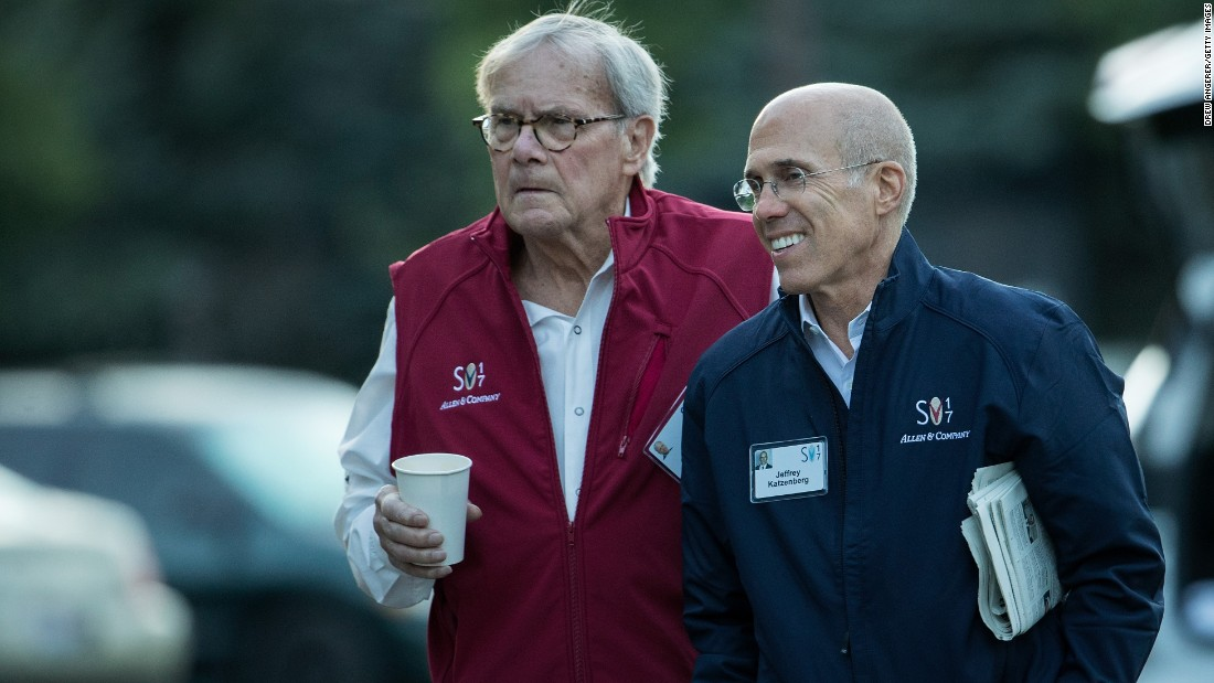 Journalist Tom Brokaw, left, and Jeffrey Katzenberg, former CEO of DreamWorks Animation
