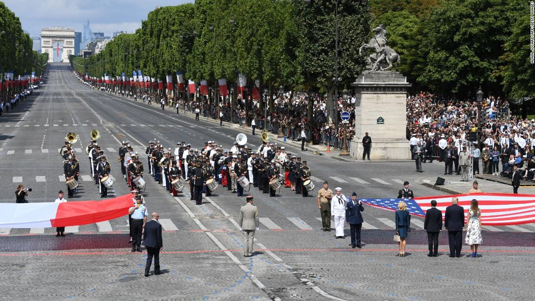 The Trumps join Macron and French first lady Brigitte Macron near the end of the parade on July 14. Bastille Day celebrates the storming of the Bastille military prison in 1789, a key date in the French Revolution. Friday's military display also commemorated the centennial of the US entry into World War I.