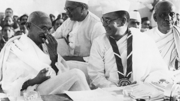 Leading members of the Indian National Congress: Gandhi (left), prominent nationalist leader Netaji Subhas Chandra Bose (center right) and independent India