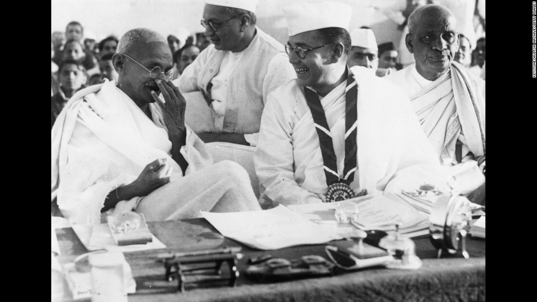 Leading members of the Indian National Congress: Gandhi (left), prominent nationalist leader Netaji Subhas Chandra Bose (center right) and independent India's first Deputy Prime Minister Vallabhai Patel (right) during a meeting on March 2, 1938 in Haripura, India.<br /><br />Founded in 1885, the Indian National Congress is a political party that campaigned for the country's independence from Britain.