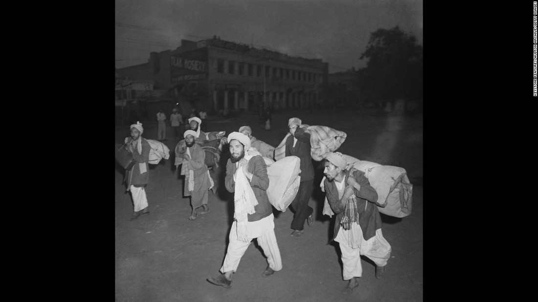 Afghan traders leave Amritsar, Punjab, in the north of India with all their belongings after communal violence broke out between Muslims, Sikhs and Hindus in March 1947.