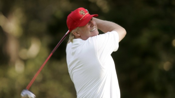 UNITED STATES - FEBRUARY 10:  Donald Trump during the first round of the 2005 AT&T Pebble Beach National Pro-Am at Spyglass Hill Golf Club in Pebble Beach, California on February 10, 2005.  (Photo by Mike Ehrmann/Getty Images)