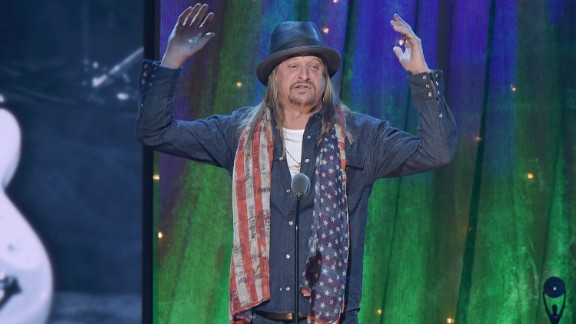 NEW YORK, NEW YORK - APRIL 08:  Kid Rock inducts Cheap Trick at the 31st Annual Rock And Roll Hall Of Fame Induction Ceremony at Barclays Center on April 8, 2016 in New York City.