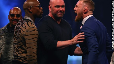 UFC president Dana White splits  Mayweather and McGregor apart at Wembley Arena.