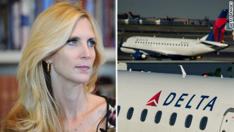"WASHINGTON, DC - OCTOBER 23:  Ann Coulter, left, is interviewed for One America News Network on Wednesday October 23, 2013 in Washington, DC.  Coulter is promoting her new book, ""Never Trust a Liberal Over 3-Especially a Republican"".  (Photo by Matt McClain/ The Washington Post via Getty Images)  A Delta plane parked at a gate at Laguardia Airport in New York, U.S., on Monday, Oct. 21, 2013. Photographer: Ron Antonelli/Bloomberg via Getty Images"