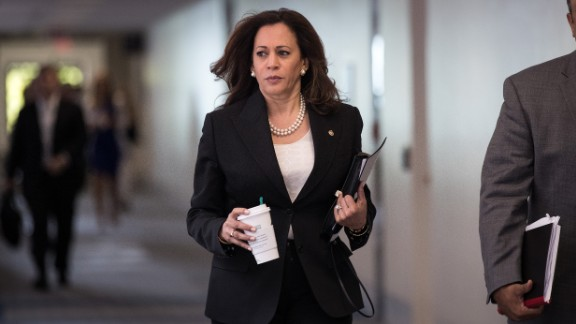 Sen. Kamala Harris (D-CA) arrives for a closed hearing of the Senate Intelligence Committee, June 29, 2017 in Washington, DC.