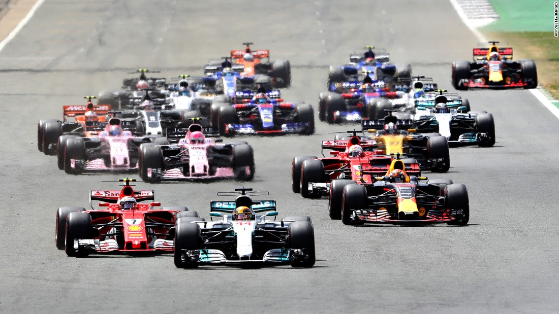 Lewis Hamilton (car No. 44) leads the way at the start of the 2017 British Grand Prix at Silverstone. To date, the famous track has hosted 51 F1 races.