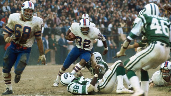 O.J. Simpson, playing for the Buffalo Bills, runs during a game against the New York Jets in New York.