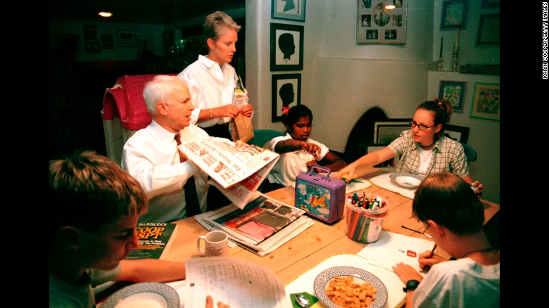 McCain spends time with his wife and children at their home in Phoenix in 1999. John and Cindy McCain have two daughters, Meghan and Bridget, and two sons, Jack and Jimmy. He also has three children from a previous marriage: Andrew, Douglas and Sidney.