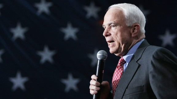 McCain, again running for President, speaks during a campaign rally in New York in 2008.