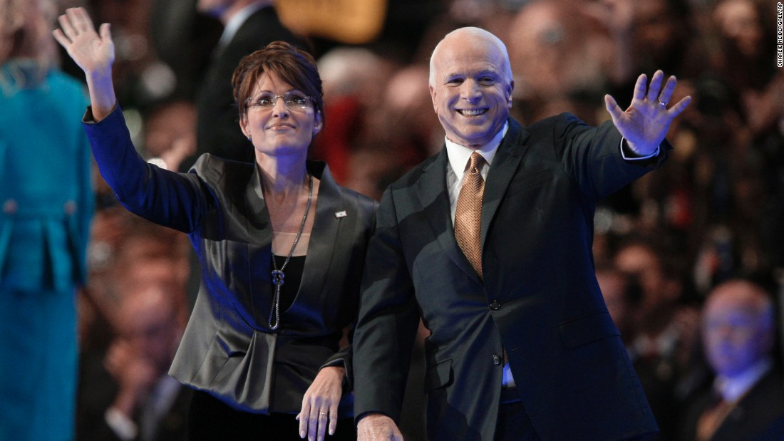 McCain and his running mate, Sarah Palin, wave to the crowd at the Republican National Convention after he accepted the party's nomination in 2008.