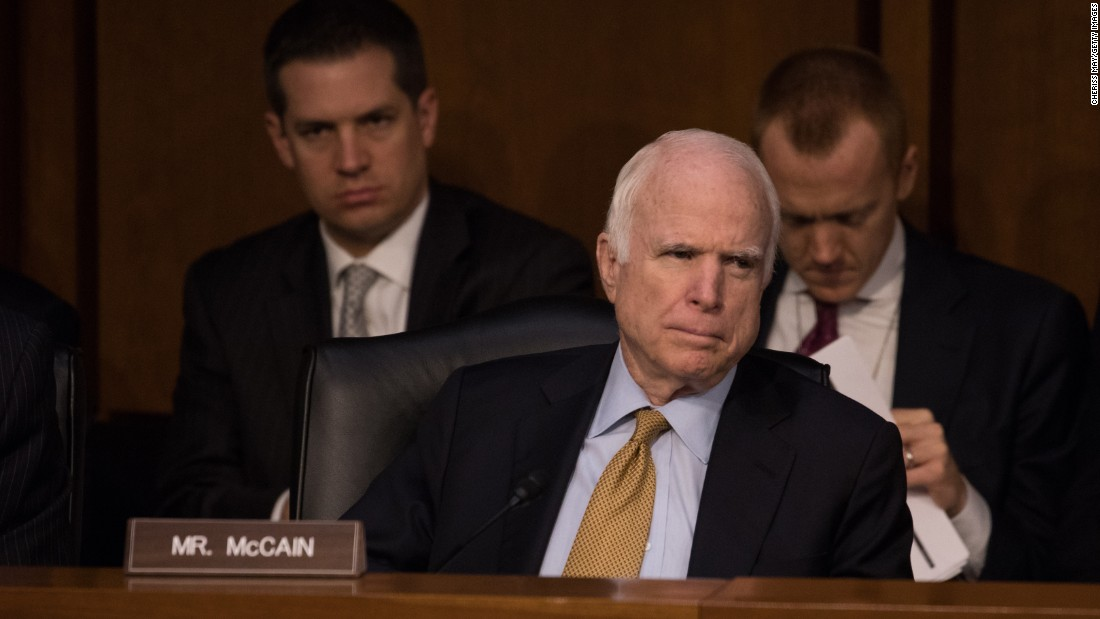 McCain listens as former FBI Director James Comey testifies on June 8, 2017, before the Senate Intelligence Committee about his encounters with President Donald Trump and his role in investigating Russian interference in the 2016 election.