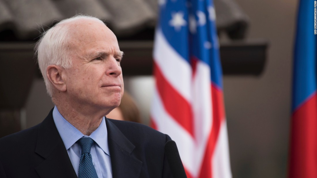 McCain pauses while giving a speech on April 8, 2017, at a ceremony in Andraz nad Polzelo, Slovenia, to honor a US fighter plane that was downed there during World War II.