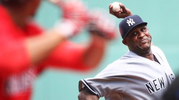 BOSTON, MA - JULY 16:  CC Sabathia #52 of the New York Yankees delivers in the first inning of a game against the Boston Red Sox at Fenway Park on July 16, 2017 in Boston, Massachusetts.  (Photo by Adam Glanzman/Getty Images) *** BESTPIX ***